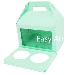 Caixa Maleta para 2 Cupcakes - Verde Claro