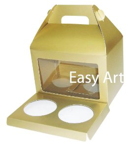 Caixa Maleta para 2 Cupcakes - Dourado