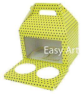 Caixa Maleta para 2 Cupcakes - Amarelo com Poás Marrom