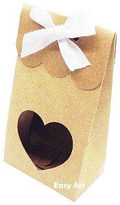 Sacolinha Francesa com Visor Coração Vazado - Kraft