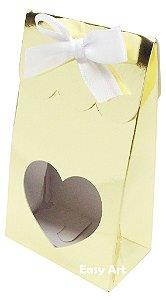 Sacolinha Francesa com Visor Coração Vazado - Dourado Brilhante