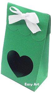 Sacolinha Francesa com Visor Coração Vazado - Verde Bandeira