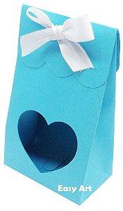 Sacolinha Francesa com Visor Coração Vazado - Azul Tiffany