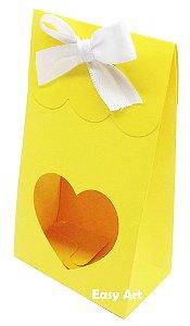 Sacolinha Francesa com Visor Coração Vazado - Amarelo