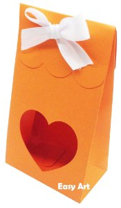 Sacolinha Francesa com Visor Coração Vazado - Laranja