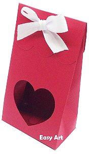 Sacolinha Francesa com Visor Coração Vazado - Vermelho