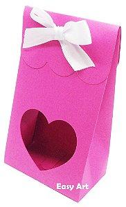 Sacolinha Francesa com Visor Coração Vazado - Pink