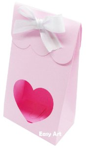 Sacolinha Francesa com Visor Coração Vazado - Rosa Claro