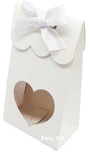 Sacolinha Francesa com Visor Coração Vazado - Branco