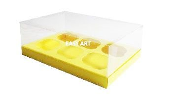 Caixas para 6 Mini Cupcakes - Amarelo