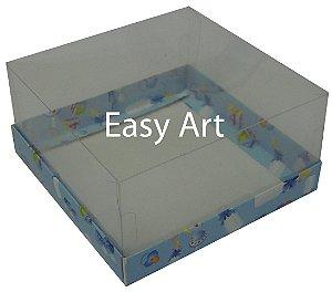 Caixinhas para Mini Bolos / Estampado Bebê Azul - 12x12x6