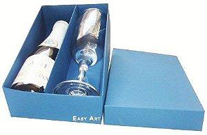 Caixas para Mini Vinho e Taça Sem Visor - Azul Marinho