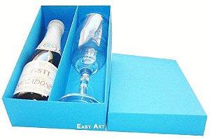 Caixas para Mini Vinho e Taça Sem Visor - Azul Turquesa