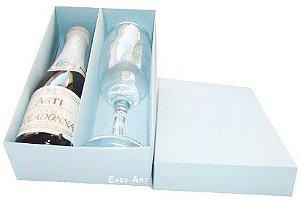 Caixas para Mini Vinho e Taça Sem Visor - Azul Claro