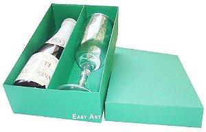 Caixas para Mini Vinho e Taça Sem Visor - Verde Bandeira