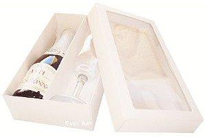 Caixas para Mini Vinho e Taça Com Visor - Branco