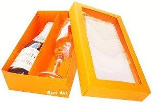 Caixas para Mini Vinho e Taça Com Visor - Laranja