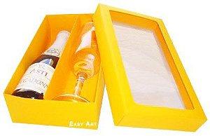Caixas para Mini Vinho e Taça Com Visor - Laranja Claro