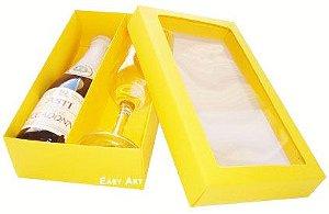 Caixas para Mini Vinho e Taça Com Visor - Amarelo