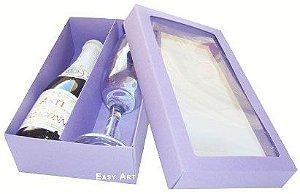 Caixas para Mini Vinho e Taça Com Visor - Lilás