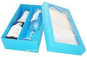 Caixas para Mini Vinho e Taça Com Visor - Azul Turquesa