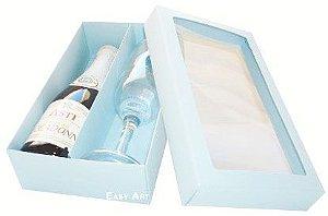 Caixas para Mini Vinho e Taça Com Visor - Azul Claro