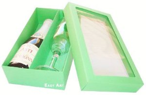 Caixas para Mini Vinho e Taça Com Visor - Verde Pistache