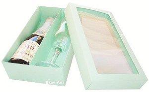 Caixas para Mini Vinho e Taça Com Visor - Verde Claro