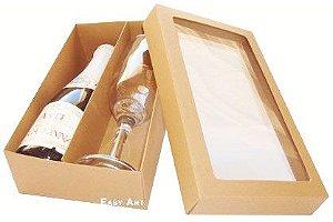 Caixas para Mini Vinho e Taça Com Visor - Marrom Claro