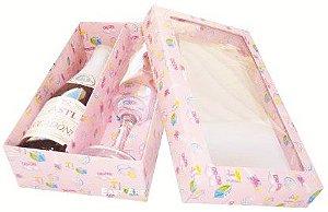 Caixas para Mini Vinho e Taça Com Visor - Estampado Bebê Rosa