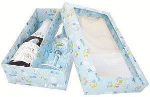 Caixas para Mini Vinho e Taça Com Visor - Estampado Bebê Azul