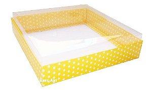 Caixas para 9 Brigadeiros - Amarelo com Poás Brancas