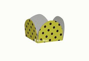 Forminhas para Doces - Pacote com 100 Unidades / Amarelo com Poás Marrom
