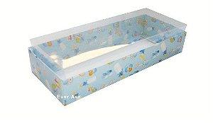 Caixa para 10 Brigadeiros - 20x8x4,5 / Estampado Bebê Azul