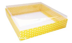 Caixa para 20 Brigadeiros - Amarelo com Poás Brancas