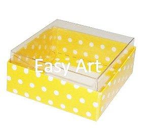 Caixinha para Amêndoas / Bijuteria - Amarelo com Poás Brancas