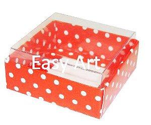Caixinha para Amêndoas / Bijuteria - Vermelho com Poás Brancas