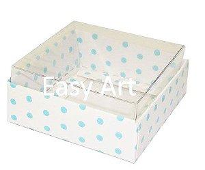 Caixinha para Amêndoas / Bijuteria - Branco com Poás Azuis