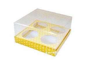 Caixas para Mini Cupcakes - Amarelo com Poás Brancas