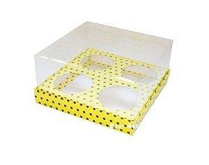 Caixas para Mini Cupcakes - Amarelo com Poás Marrom