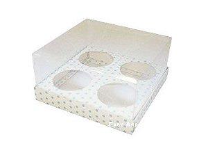 Caixas para Mini Cupcakes - Branco com Poás Azuis