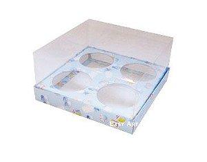 Caixas para Mini Cupcakes  Estampado Bebê Azul