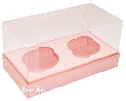 Caixas para 2 Mini Cupcakes - Salmão