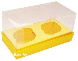Caixas para 2 Mini Cupcakes - Amarelo