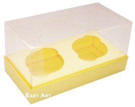 Caixas para 2 Mini Cupcakes - Marfim