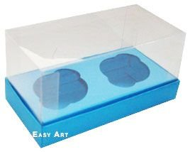 Caixas para 2 Mini Cupcakes - Azul Turquesa