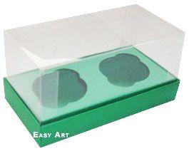 Caixas para 2 Mini Cupcakes - Verde Bandeira