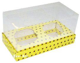 Caixas para 2 Mini Cupcakes - Amarelo com Poás Marrom