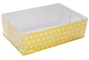Caixas para 6 Brigadeiros - Amarelo com Poás Brancas