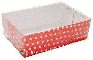 Caixas para 6 Brigadeiros - Vermelho com Poás Brancas